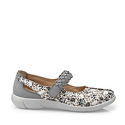 Hotter - Light Grey 'Shake' Wide Fit Mary Janes Shoes