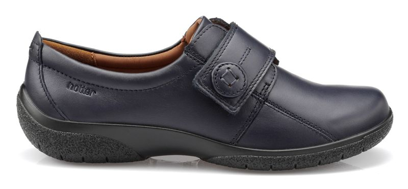 Hotter - Navy Sugar Wide Fit Touch Close Shoes