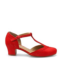 Hotter - Dark Red 'Viviene' T-Bar Mid Heel Shoes