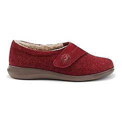 Hotter - Dark red suede 'Wrap' touch close slippers