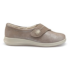 Hotter - Taupe suede 'Wrap' touch close slippers