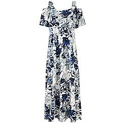 Grace - Blue cold shoulder maxi dress
