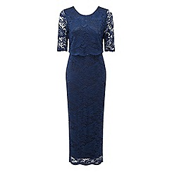Grace - Navy lace overlay maxi dress