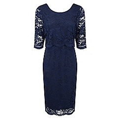 Grace - Navy lace overlay midi dress