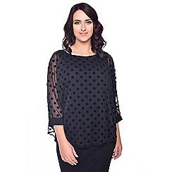 Grace - Black chiffon overlay tunic top