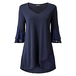 Grace - Navy tunic top with lace detail