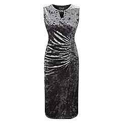 Grace - Silver velour midi dress