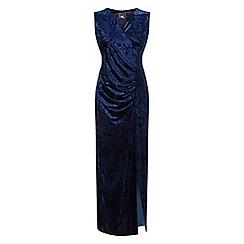 Grace - Navy velour maxi dress