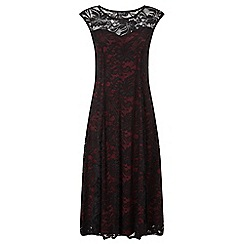 Grace - Black contrast lace midi dress