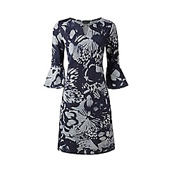 Grace - Navy floral midi dress with jewel clasp