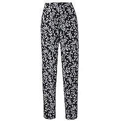 Grace - Black floral tapered trousers