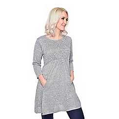 Grace - Silver melange tunic with stud detail