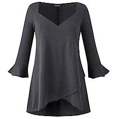 Grace - Grey v-neck tunic with slit sleeves