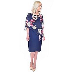 Grace - Navy overlay midi dress