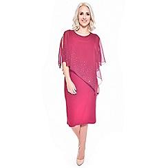Grace - Dark red chiffon overlay midi bodycon dress