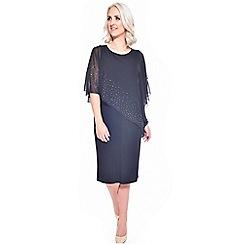 Grace - Black chiffon overlay midi bodycon dress