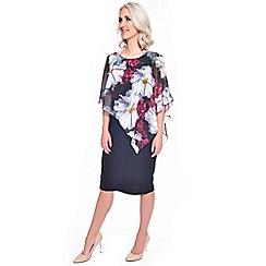 Grace - Black chiffon overlay midi dress