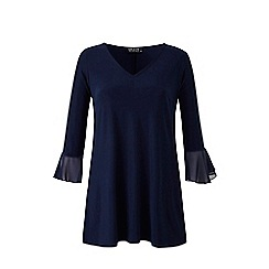 Grace - Navy tunic top with frill cuff
