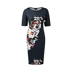 Grace - Navy floral scuba midi dress