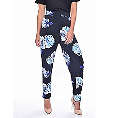 Grace - Blue floral tapered trousers