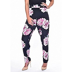 Grace - Purple floral tapered trousers