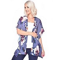 Grace - Purple floral round neck Kimono