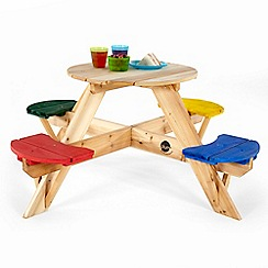 Plum - Wooden circular picnic table with coloured seats