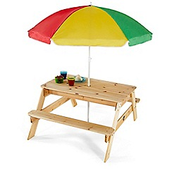Plum - Wooden rectangular picnic table with parasol