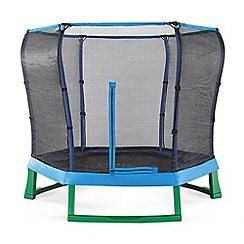 Plum - Blue and green 7ft junior jumper spring safe trampoline and enclosure