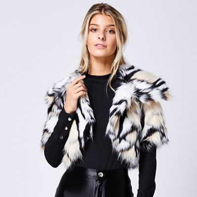 afdf922547 ANGELEYE Animal print short sleeve faux fur throw over jacket ...