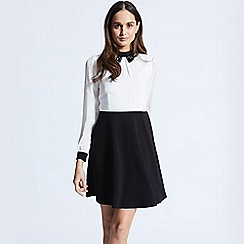 ANGELEYE - Contrast Black And White Dress With Shirt Collar