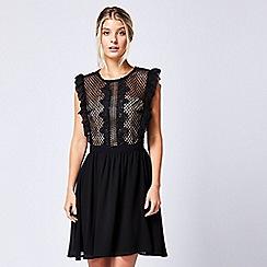 ANGELEYE - Black lace mesh ruffled sleeveless dress