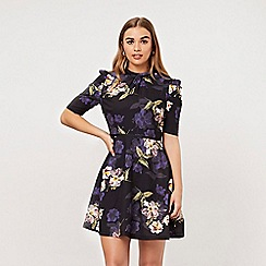 ANGELEYE - Navy floral dress with ruffles half sleeves