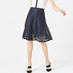 ANGELEYE - Navy mesh stripe skirt