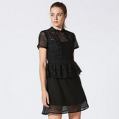 ANGELEYE - High neck short sleeve black lace peplum dress