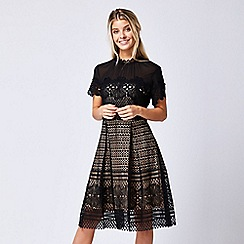 ANGELEYE - Black lace overlay short sleeve dress