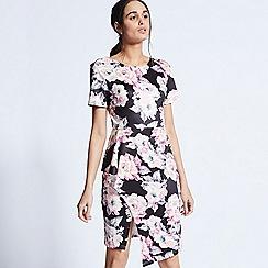 ANGELEYE - Black floral bodycon knee length dress