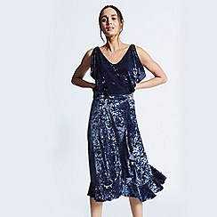 ANGELEYE - Royal blue crushed velvet tiered could shoulder camisole top