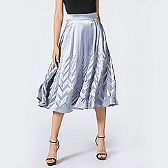 ANGELEYE - Silver Pleated Satin Midi Skirt