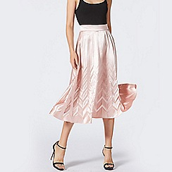 ANGELEYE - Blush Pink Pleated Satin Midi Skirt