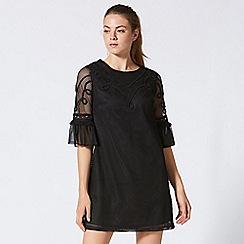 ANGELEYE - Black mini mesh lace shift dress