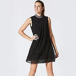ANGELEYE - Black chiffon gem embellished layered shift dress
