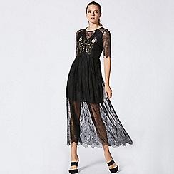 ANGELEYE - Black lace layered short sleeve dress
