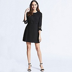 ANGELEYE - Black short dress with 3/4 length fluted sleeves