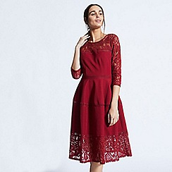 ANGELEYE - Red midi dress with lace cut sleeves
