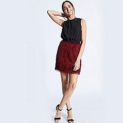 ANGELEYE - Illusion two piece dress burgundy & black short dress