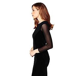 James Lakeland - Black velvet tulle long sleeve bodycon dress