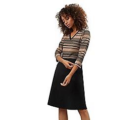 James Lakeland - Navy mix jacquard v-neck knee length dress