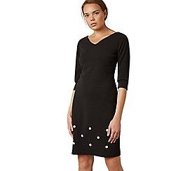 James Lakeland - Black pearl embellished v-neck knee length dress