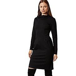James Lakeland - Black cowl neck long sleeve knee length pockets dress